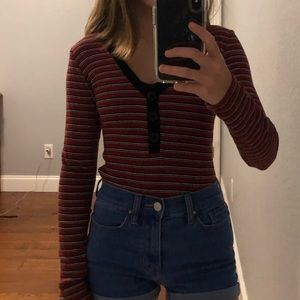 Forever 21 Long Sleeve Button Up Ribbed Tee